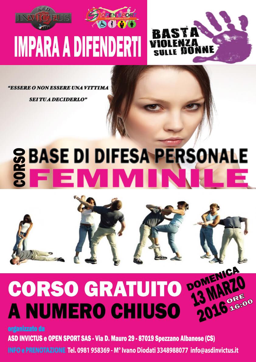 Corso di difesa Femminile Gratuita.
